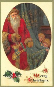 Ernest Nister Christmas Greetings Red Suited Santa Claus Children Postcard