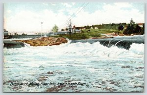Brunswick Maine~Androscoggin River~Lower Falls~Rocks~Buildings on Riverbank~1905