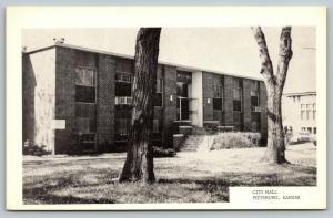 Pittsburg Kansas~City Hall~Bare Trees~Window Air Conditioners~1950s B&W WC Pine
