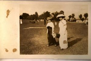 pre-1918 rppc fashion TWO ELEGANT WOMEN WITH CASE & PURSES great postcard y3881