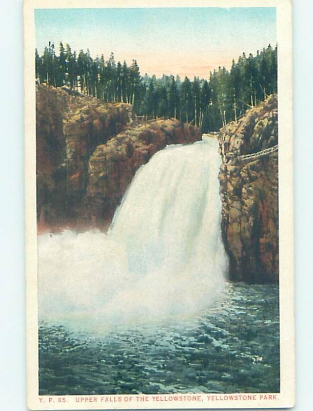 Unused W-Border UPPER FALLS Yellowstone National Park Wyoming WY H2581
