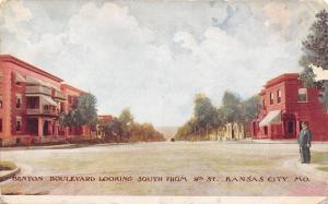 Kansas City Missouri~Benton Boulevard Policeman~South @ 9th Street~1910 Postcard