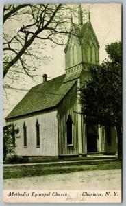 Charlotte NY~Fancy Belltower~Wooden Bldg~United Methodist Episcopal Church~1908