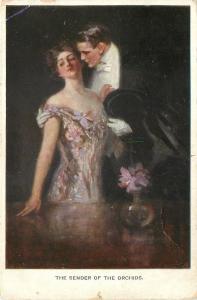 Artist Signed~Sender Of The Orchids~Elegant Couple~Lavender Lady~M Munk nr 742
