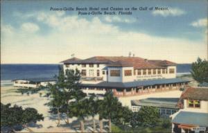 Pass-A-Grille Beach FL Hotel & Casino Linen Postcard