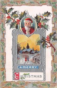Christmas~Santa Smokes Pipe Oval~Church Vignette~Ornate Silver Emboss~Jackson
