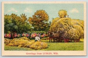 Lublin Wisconsin~Farmers Toss Hay on Horse Drawn Hayrack Wagon~1940s Linen PC
