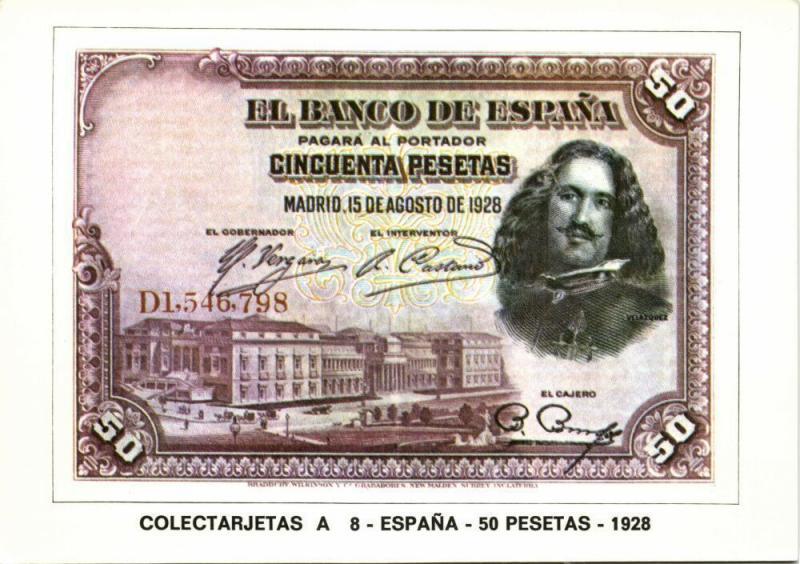 spain, Cincuenta 50 Pesetas 1928, BANKNOTES Modern Money Postcard