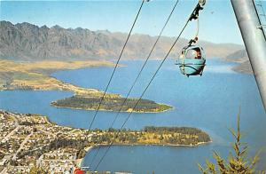 New Zealand Old Vintage Antique Post Card Queenstown Gondola Stamp on back