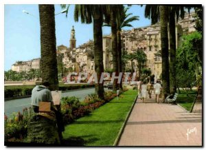 Modern Postcard The French Riviera Menton M In Old Town Square Cictoria
