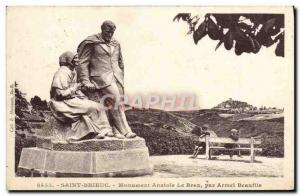 Old Postcard Saint Brieuc Monument Anatole le Braz By Armel Beaufils