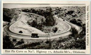 Arbuckle Mountains Oklahoma RPPC Postcard Hair Pin Curve National Highway 77