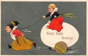 PFB Easter~Victorian Children~Giant Egg Cart~One Pulls Other~Hunter Green Back