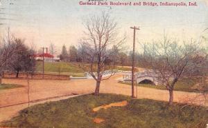 Indianapolis Indiana~Garfield Park~Dirt Road Boulevard & Bridge~1911 Postcard
