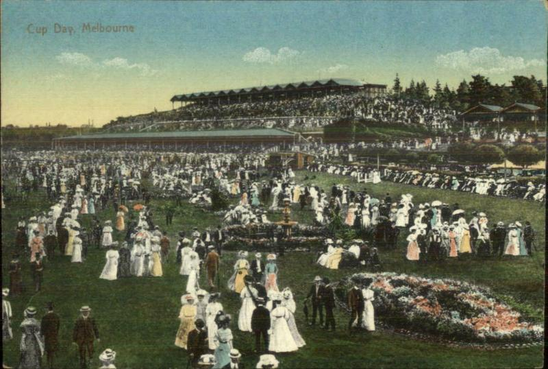 Melbourne Race Track Grand Stand Crowd CUP DAY c1910 Postcard