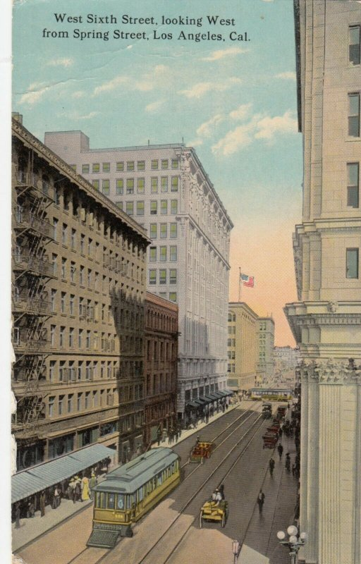 LOS ANGELES, California, PU-1913; West Sixth Street, Looking West From Spring St