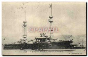 Old Postcard Boat War Admiral Baudin has turrets Breastplate