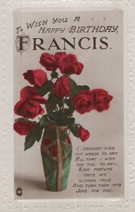 Happy Birthday A Name Called Francis Antique Real Photo Postcard