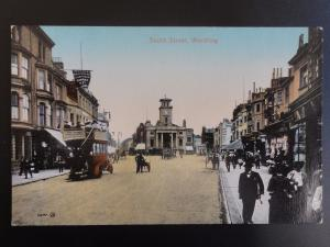 West Sussex WORTHING South Street showing IMERIAL RESTAURANT c1906 Old Postcard