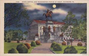 State Capitol And Washington Statue At Night Richmond Virginia