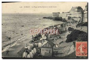 Old Postcard St Malo De La Plage Bon Secours A Maree Haute