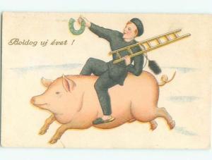 foreign c1910 Postcard MAN RIDING ON PIG AC3846