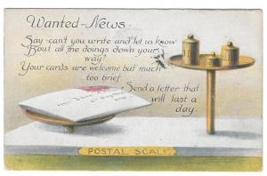 Motto Poem Postcard Please Write Postal Scale Vintage 1918
