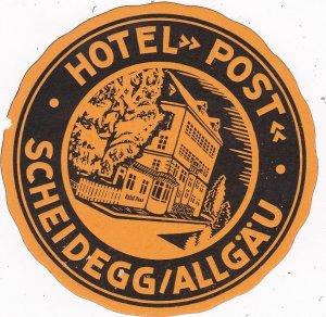 Germany Scheidegg/Allgaeu Hotel Post Vintage Luggage Label sk3827