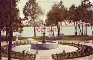 1916 CITY PARK, RICE LAKE, WIS. children near fountain