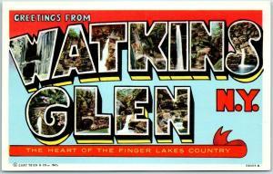 Vintage WATKINS GLEN, New York Large Letter Postcard Finger Lakes Curteich Linen