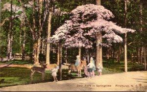 North Carolina Pinehurst Deer Park In Springtime 1936 Handcolored Albertype