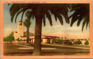 Vintage Postcard Union Station LA California 1949 Linen Allegan Michigan  993