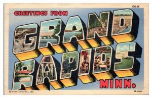Greetings from Grand Rapids, MN LARGE LETTER Postcard
