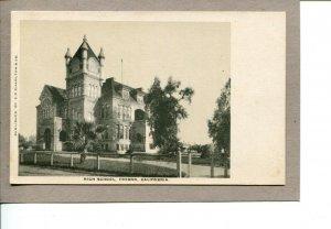 Postcard CA Fresno High School Grounds Trees Building c1907-359