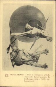 WWI Propaganda Nude German Woman Hun Pointed Helmet Breasts Anti-German
