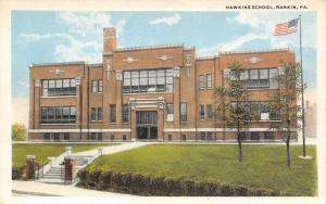 Rankin Pennsylvania~Hawkins School~Pillar Gates at Bottom States~1920s Postcard