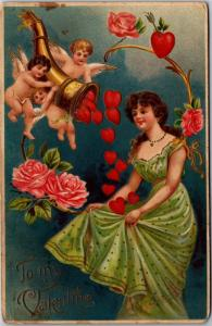 Valentine, Cupids with Horn of Hearts, Woman in Green Gown c1910 Postcard M14