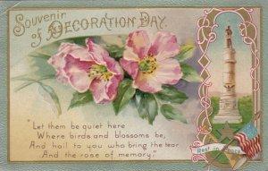Souvenir of DECORATON DAY, 1900-10s; Flowers, Monument, poem