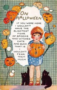 Halloween Whitney Made Embossed Girl Black Cats J-O-L Masks Postcard