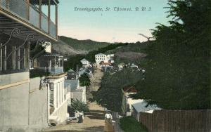 danish west indies, St. THOMAS, Dronningsgade (1910s) Postcard