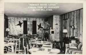 RP: BLACK HILL , South Dakota , 1949 ; Powder House Lodge , Interior