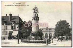 Troyes Postcard Ancient Monument of children & # 39aube and train station