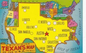 A Gin-u-wine Texan's Map of the U.S.A. (No Bull) 40-60s