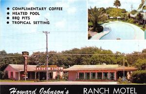 Corpus Christi TX Howard Johnson's Ranch Motel Swimming Pool Postcard