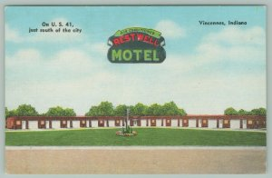 Vincennes Indiana~Restwell Motel~Roadside US Route 41~1950 Linen Postcard