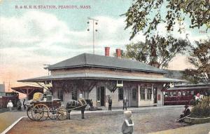 Peabody MA B&M Railroad Station Train Depot Horse & Wagon Postcard