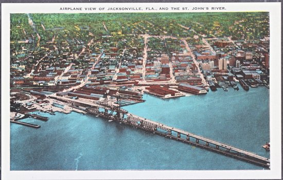 Jacksonville FL - early aeriel  of the city and the St. John's River, 1920s