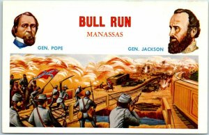 Battles of the Civil War Postcard BULL RUN - Manassas Gens Jackson & Pope