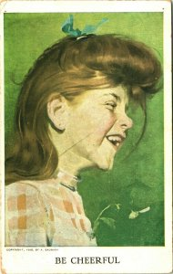 A Baumann Red Haired Country Girl -Be Cheerful! 1912 DB Postcard