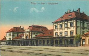 Romania Gara Teius Train station 1920s vintage postcard